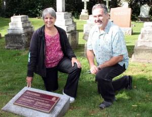 Haviland descendant Sandra George and Gary Diorio visit the gravesite and Historic Sites and Monuments Board plaque for Thomas Heath Haviland.
