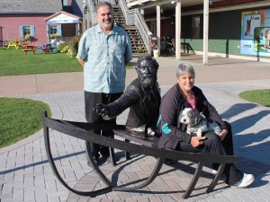 The Haviland descendants visit the new bronze sculpture of W H Pope on the Charlottetown Waterfront.